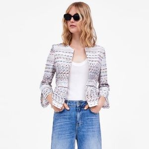 Zara | Structured Multi-Colored Peplum Blazer | XS